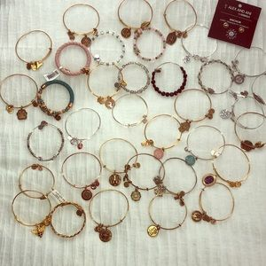 35 Alex & Ani Bracelets plus one pair of Earings